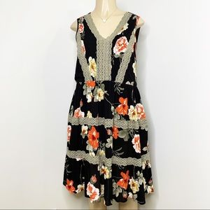 ODDY Black Floral Lace Sleeveless Dress Lace NWT